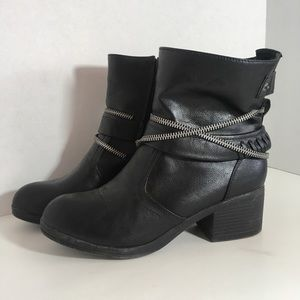 Bamboo Mariah Black Moto Combat Ankle Boots
